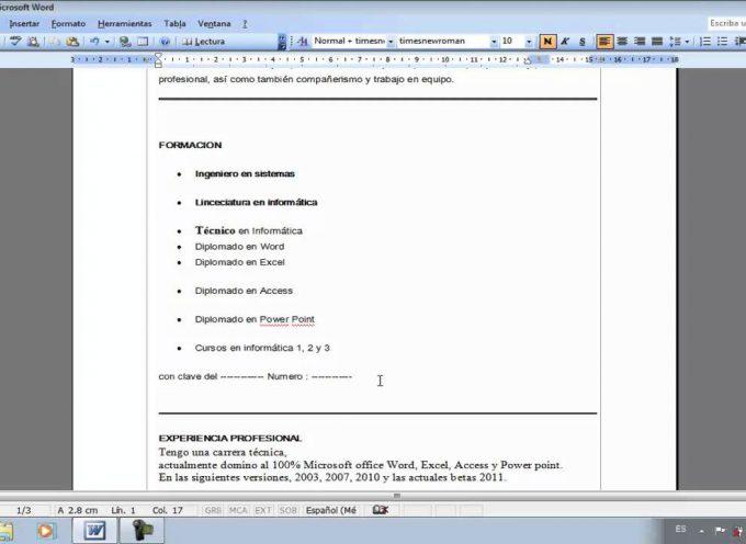 Como hacer un Curriculum eficaz paso a paso