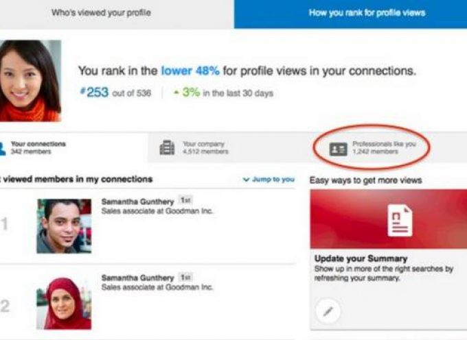 Linkedin lanza función que ayuda a encontrar y compararnos con profesionales semejantes a nosotros