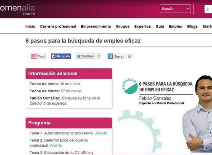 """Curso online gratuito """"6 pasos para la búsqueda de empleo eficaz"""""""