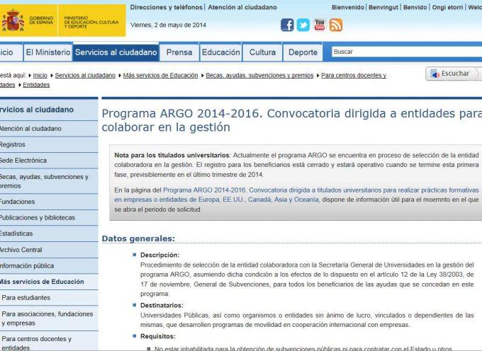 Abierto plazo para solicitar prácticas en empresas de ámbito internacional. ARGO Programa – Hasta el 31diciembre