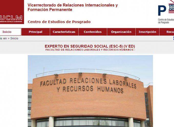 Abierta la preinscripción del V Master de Postgrado de EXPERTO EN SEGURIDAD SOCIAL (Modalidad On-Line)