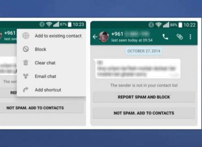 Whatsapp permite indicar que una cuenta es Spam o simplemente bloquearla
