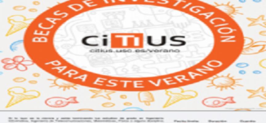 Convocatoria Becas de verano Citius de iniciación a la investigación. Hasta el 11 de junio