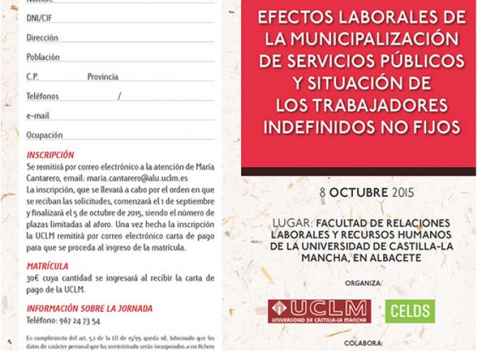 """Jornada de Estudio """"Efectos laborales de la municipalización de servicios públicos y situación de los trabajadores indefinidos no fijos"""""""