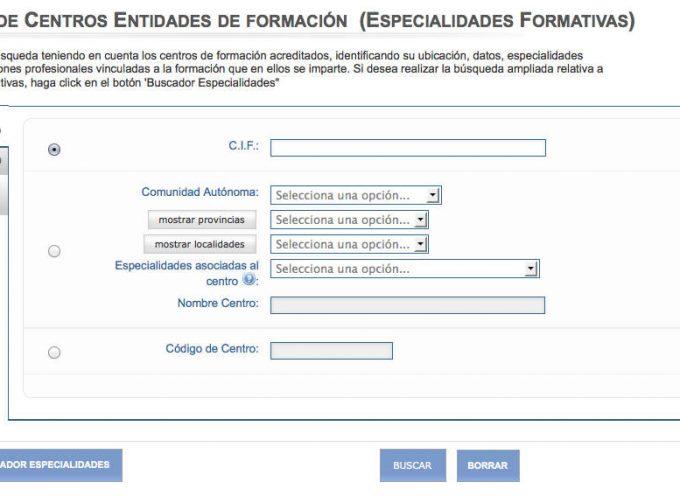 Accede al buscador de especialidades formativas, centros, cursos…
