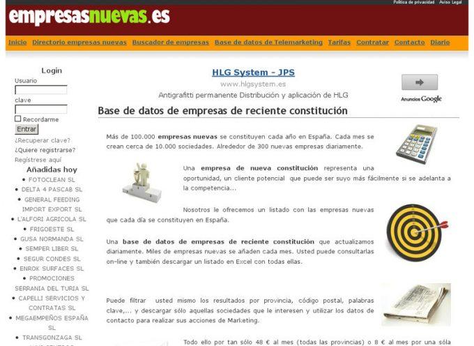 Directorio de más de 65.000 empresas nuevas creadas en España.