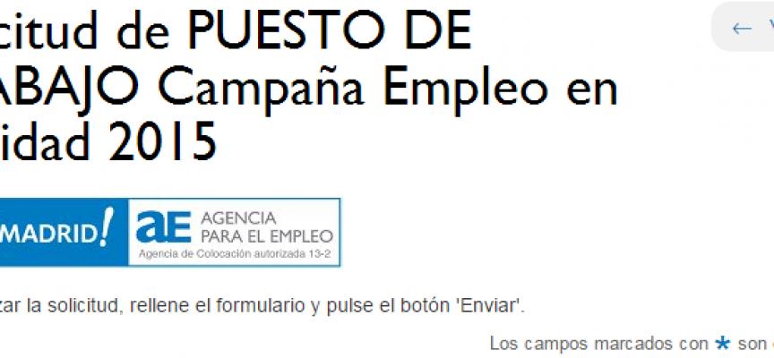 Empleo en Navidad'15. Programa para ofertar #empleos. Solicita tu puesto. (Madrid)