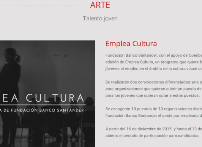 Segunda edición de las Becas Emplea Cultura. Plazo 13/01/2016