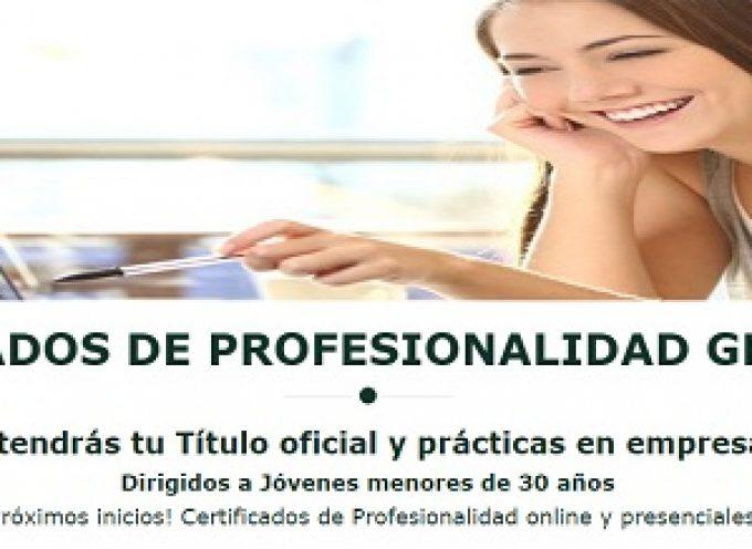 Cursos con Certificados de profesionalidad online gratuitos para jóvenes