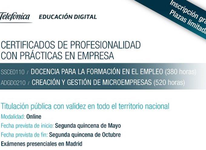 Dos Cursos Gratuitos con Certificados de Profesionalidad On-line.