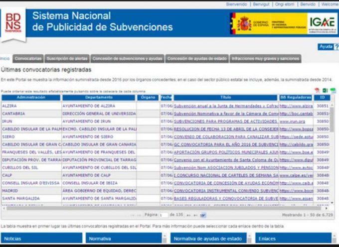 Portal web con todas las subvenciones y becas de entidades publicas