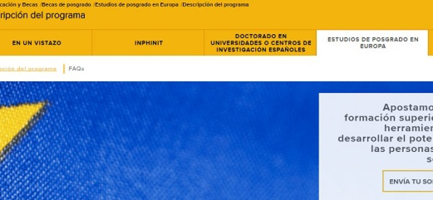 65 becas para cursar estudios de posgrado en universidades Europeas