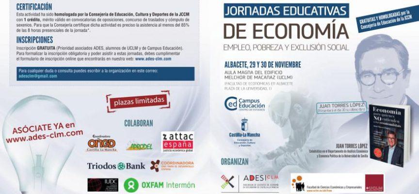 Jornadas Educativas de Economía. «Empleo, pobreza y exclusión social» . Albacete 29 y 30 noviembre
