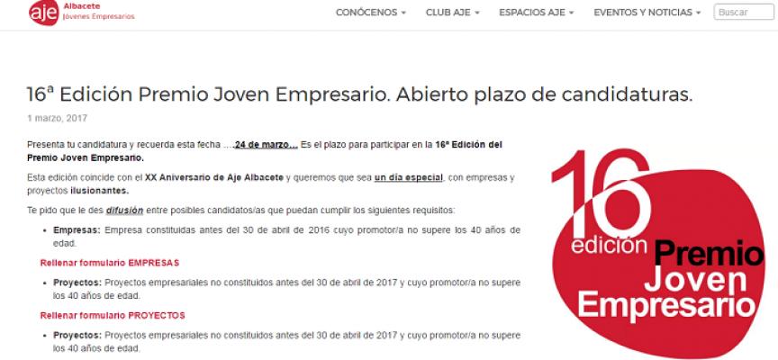16ª Edición Premio Joven Empresario. #Albacete Plazo: 24/03/2017