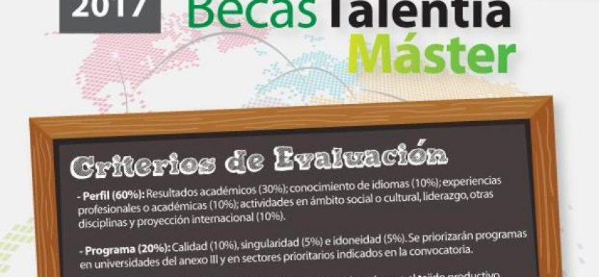 Convocatoria de 34 Becas Talentia Máster #Andalucia Plazo: 04/10/2017