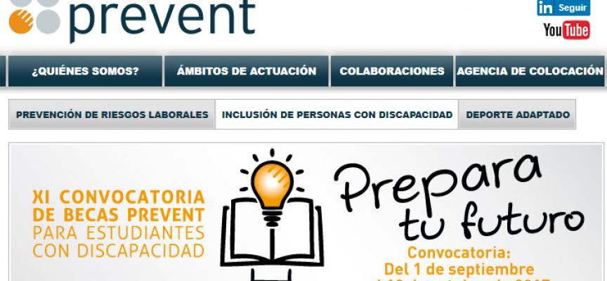Convocatoria de Becas Prevent para estudiantes con discapacidad, plazo 13/10/2017
