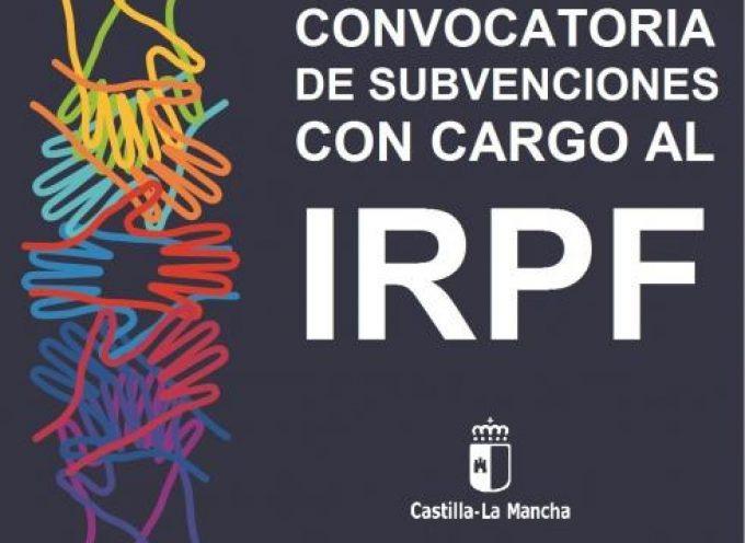 CONVOCATORIA DE SUBVENCIONES CON CARGO AL IMPUESTO SOBRE LA RENTA DE LAS PERSONAS FÍSICAS (IRPF). #CastillaLaMancha – Plazo: 18/10/2017