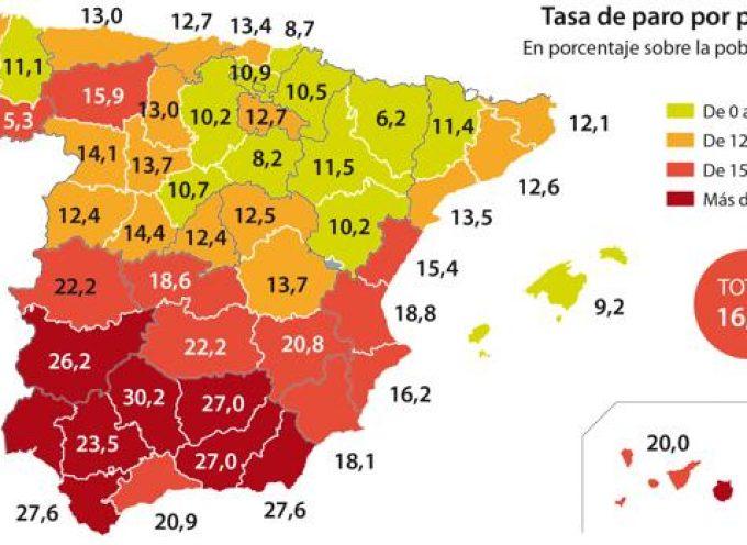 El mapa del paro en España: las peores y mejores provincias para encontrar trabajo