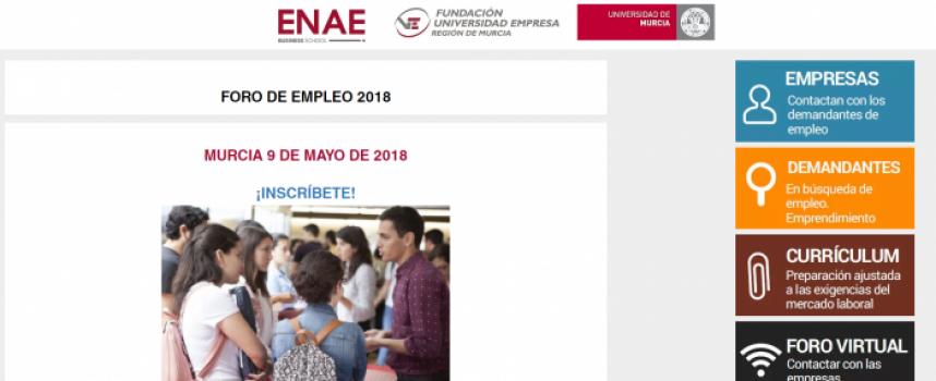 Ofertas de trabajo en el nuevo Foro de Empleo 2018 de Enae #Murcía 9 de mayo de 2018