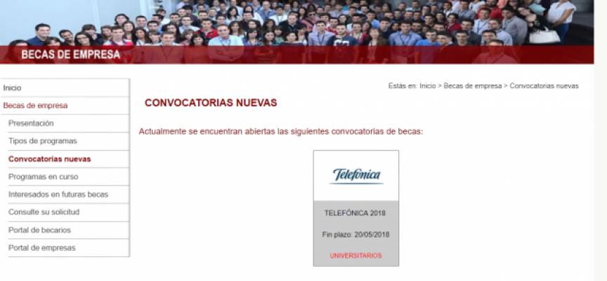 100 Becas prácticas en empresas del Programa TELEFÓNICA 2018 | Plazo: 20 de mayo de 2018
