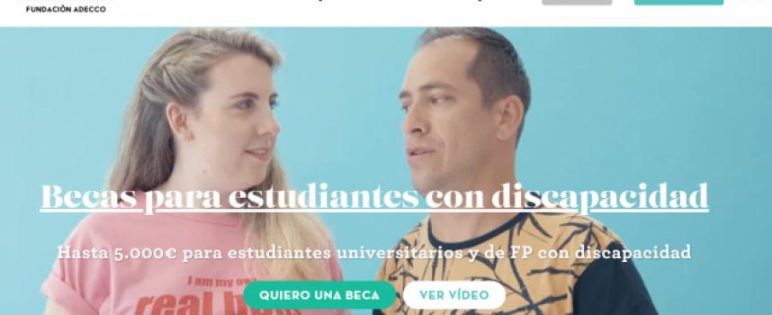 Convocadas Becas de hasta 5.000 euros para estudiantes con discapacidad. Plazo 11/11/2018