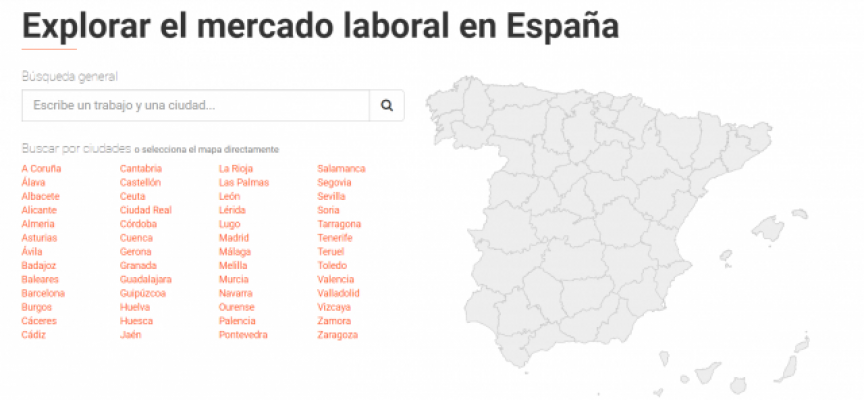 """Web que """"Explora el mercado laboral en España"""". Zonas con más trabajo, empresas que más contratan"""
