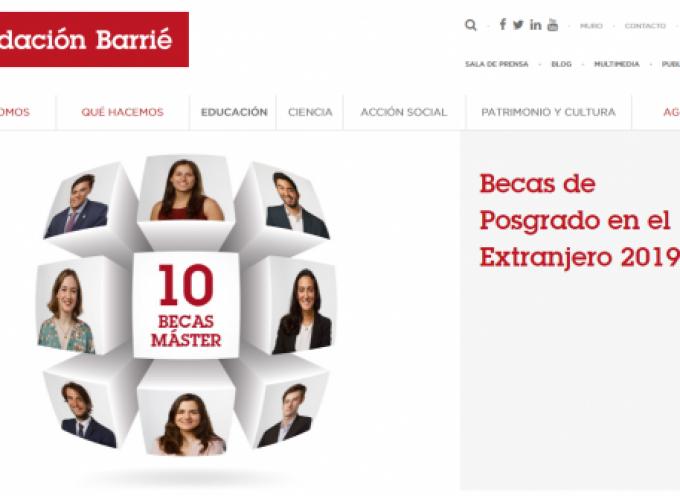 Convocatoria de Becas de Posgrado en el Extranjero 2019 de la Fundación Barrié | Plazo 4 febrero 2019