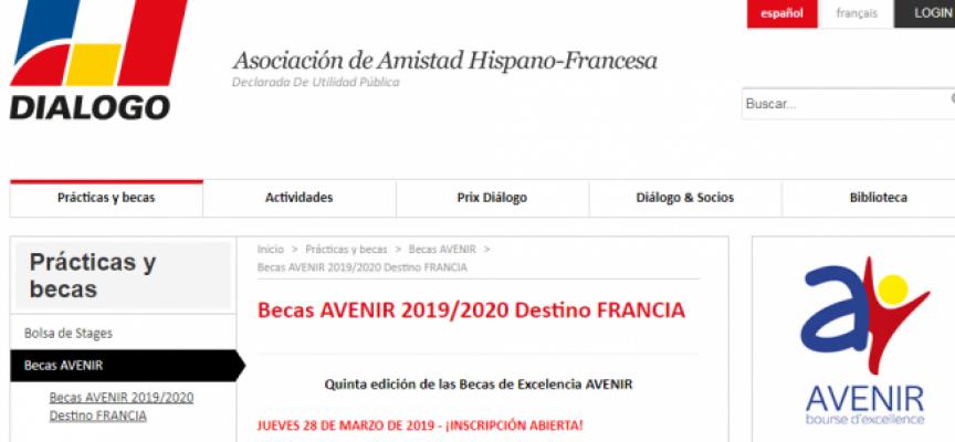 Becas Avenir para estudiar y hacer prácticas en Francia | Plazo 17/05/2019