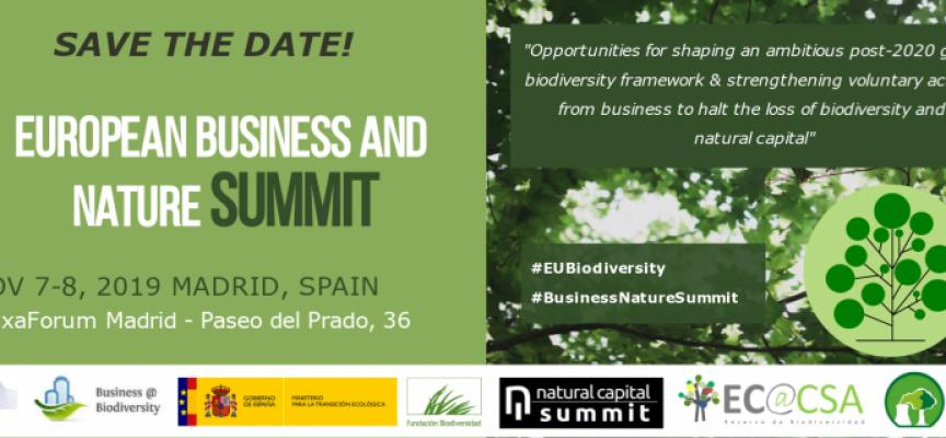 Ya puedes inscribirte en la European Business and Nature Summit de Madrid 2019 / Noviembre