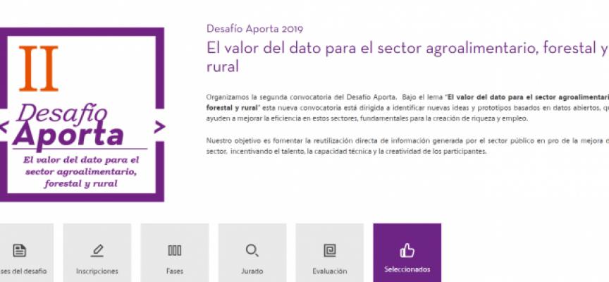 Desafío Aporta 2019: 42 nuevas ideas para impulsar el sector agroalimentario, forestal y rural utilizando datos abiertos