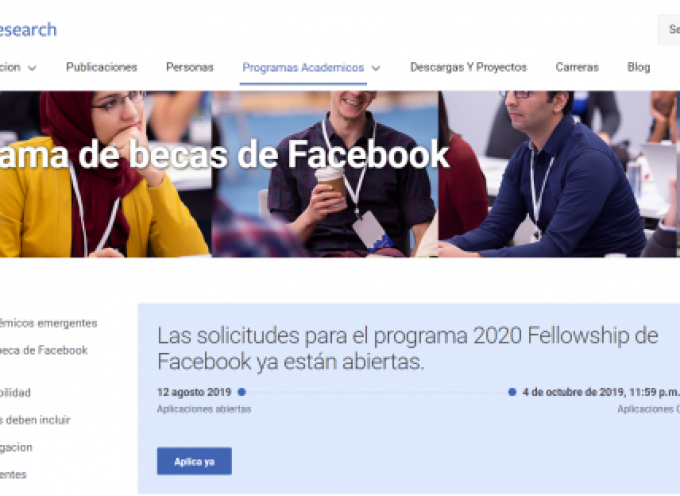 Programa de Becas de Facebook | Plazo 4 de octubre 2019