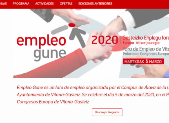 Más de 250 ofertas de trabajo en el Foro de Empleo Gune | 5 de marzo 2020