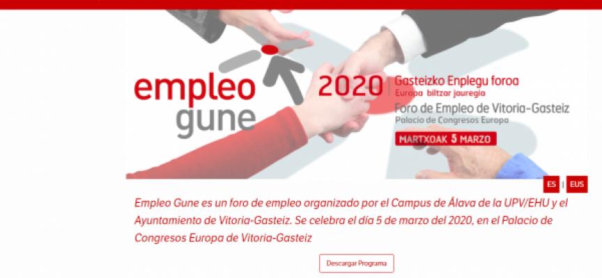 Más de 250 ofertas de trabajo en el Foro de Empleo Gune   5 de marzo 2020