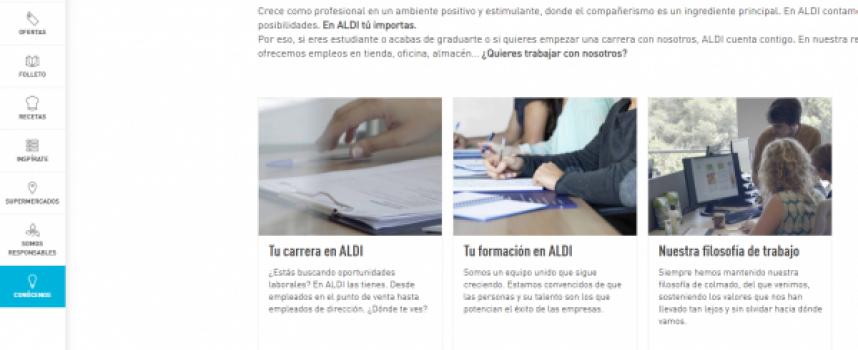 La cadena ALDI contratará más de 800 personas este año. Ofertas de trabajo