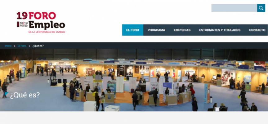 70 empresas en el próximo Foro de Empleo de la Universidad de Oviedo | 18 y 19 de marzo 2020 | Aplazado #YoMeQuedoEnCasa