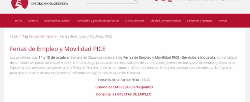 Ofertas de trabajo y Prácticas en la Feria de Empleo PICE-Servicios e Industria de Guipuzkoa