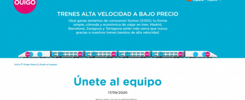 OUIGO creará 1.250 empleos en España con sus trenes low cost de alta velocidad