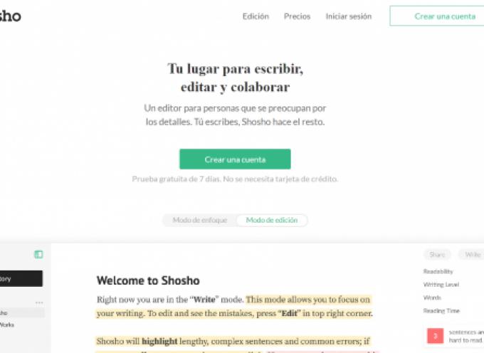 Shosho, para escribir sin distracciones en un editor online que te corrige