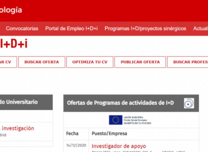 Más de 140 ofertas de trabajo en el Portal de Empleo I+D+i