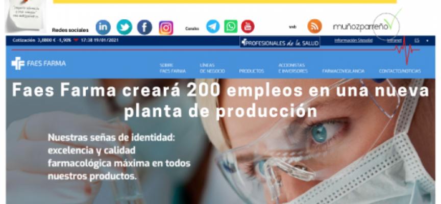 Faes Farma creará 200 empleos en una nueva planta de producción