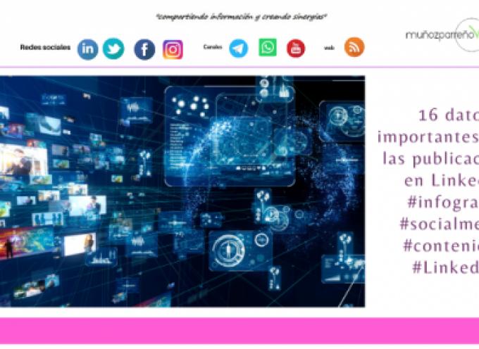 16 datos importantes sobre las publicaciones en LinkedIn #infografia #socialmedia #contenidos #LinkedIn