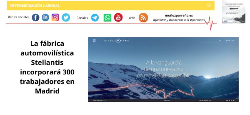 La fábrica automovilística Stellantis incorporará 300 trabajadores en Madrid