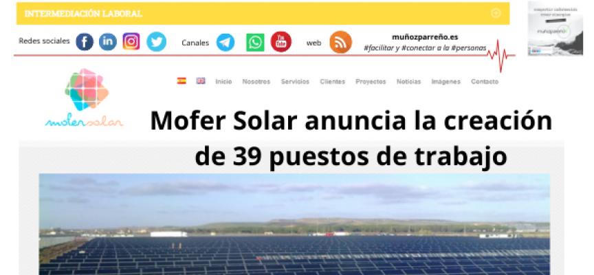 Mofer Solar anuncia la creación de 39 puestos de trabajo