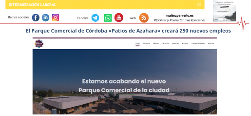 El Parque Comercial de Córdoba «Patios de Azahara» creará 250 nuevos empleos