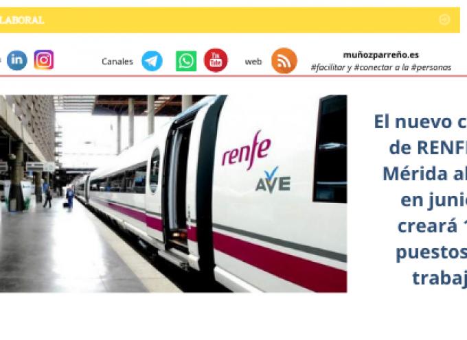 El nuevo centro de RENFE en Mérida abrirá en junio y creará 125 puestos de trabajo