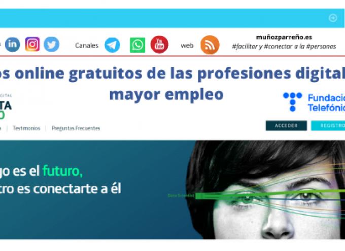 18 cursos online gratuitos de las profesiones digitales con mayor empleo